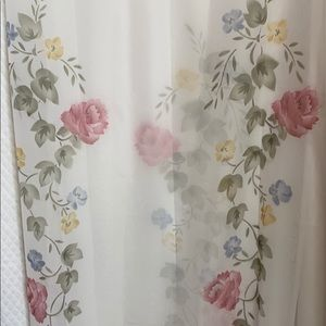 Vintage White 60's sheer panel curtains in EUC